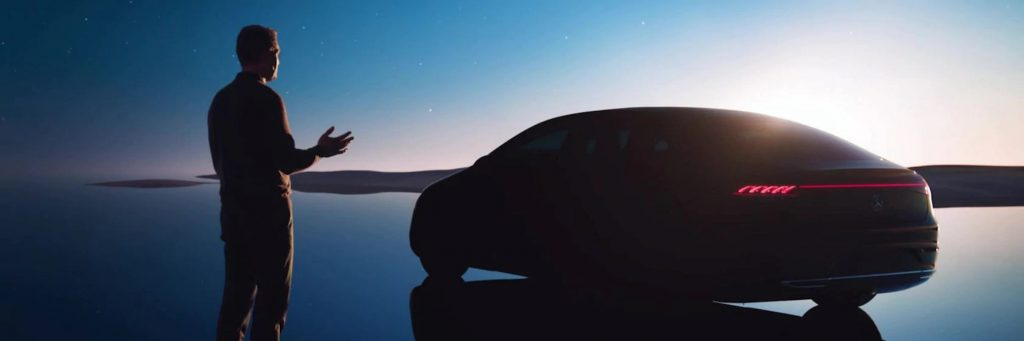 Mercedes EQS rear three quarters teaser