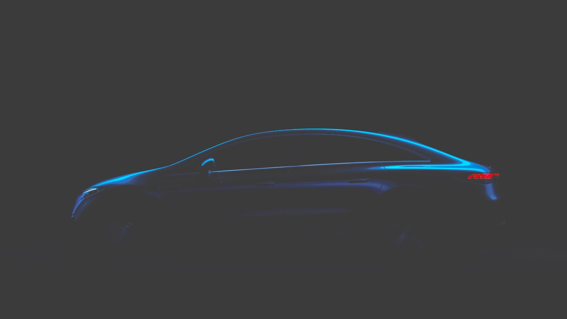 Mercedes EQS side profile teaser