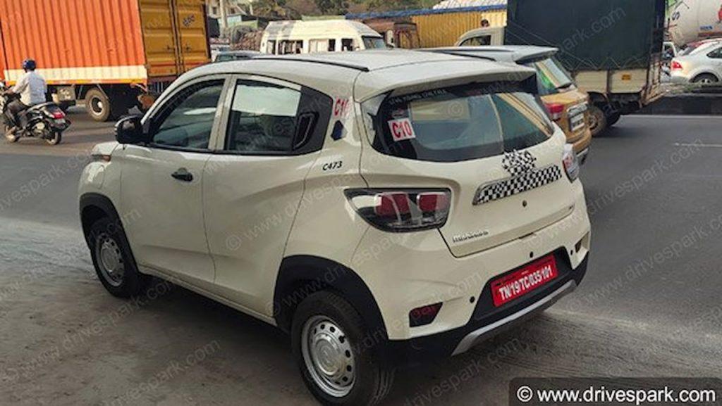Base Mahindra eKUV100 rear three quarters spy shot
