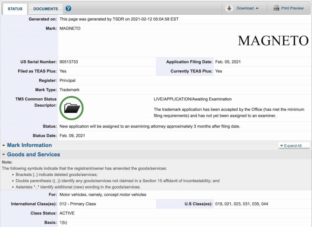 Jeep Magneto Wrangler EV trademark application