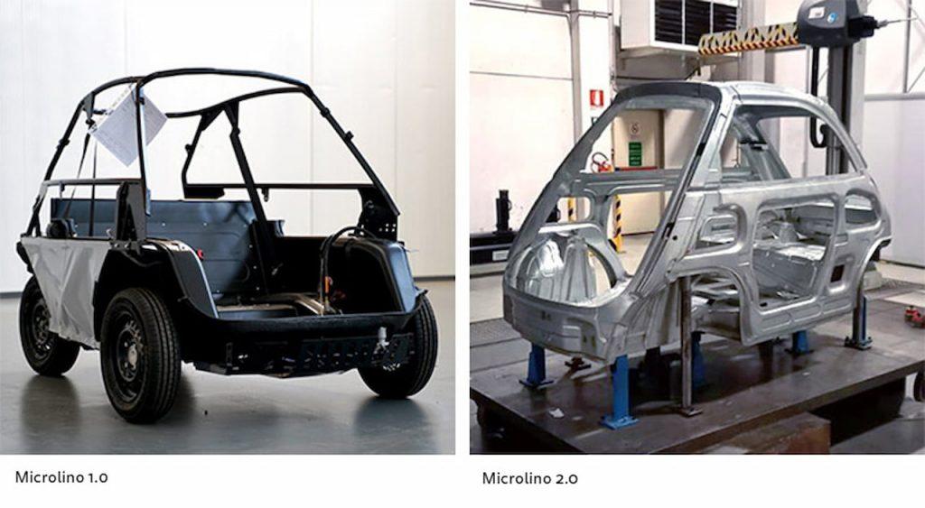 Microlino 1.0 vs. Microlino 2.0 structure chassis