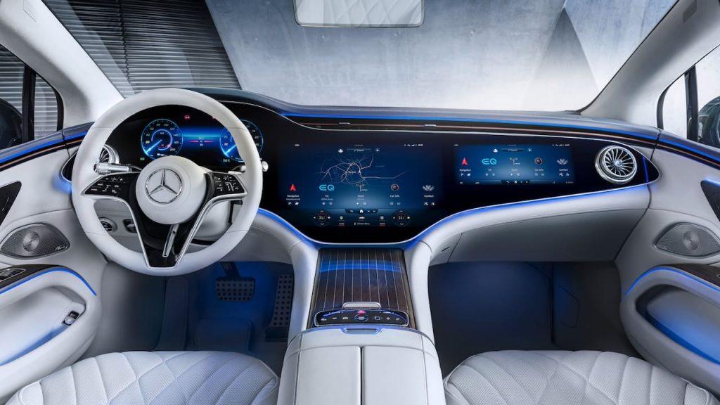 Mercedes EQS interior dashboard MBUX Hyperscreen