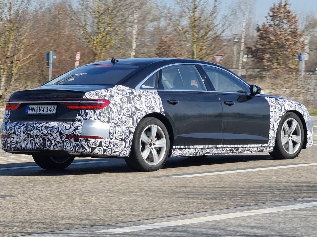 2022 Audi A8 facelift rear spied