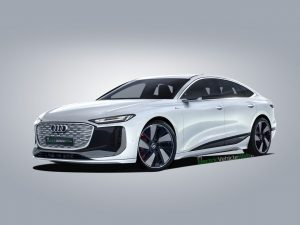 Audi A6 e-tron sedan production render (Audi E6 electric)