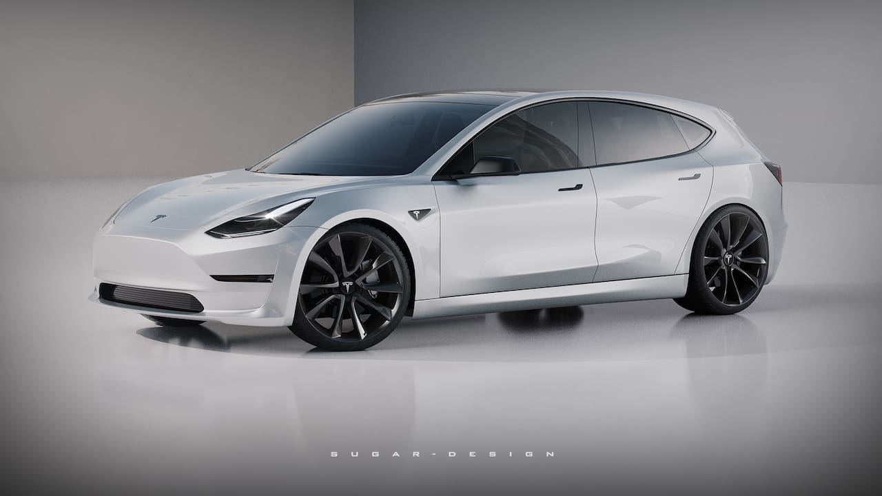 Tesla Model 2 front three quarters rendering
