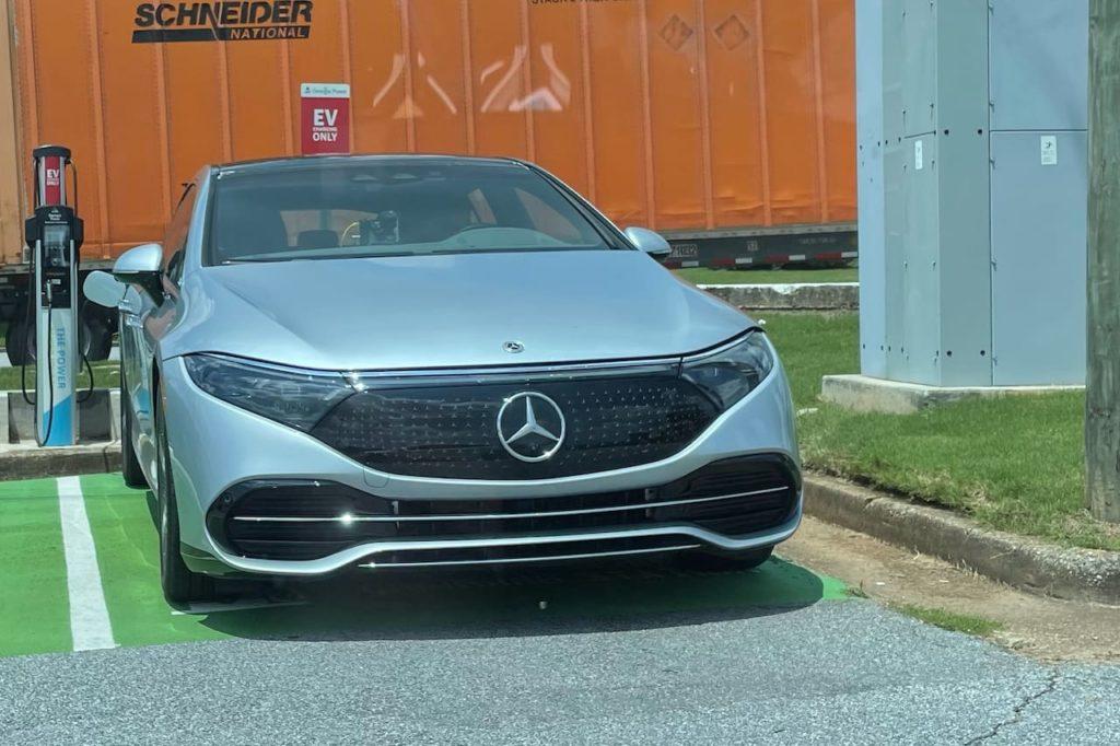 US spec Mercedes EQS front charging