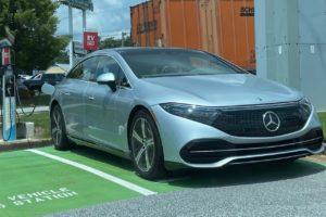 US spec Nercedes EQS front three quarters charging