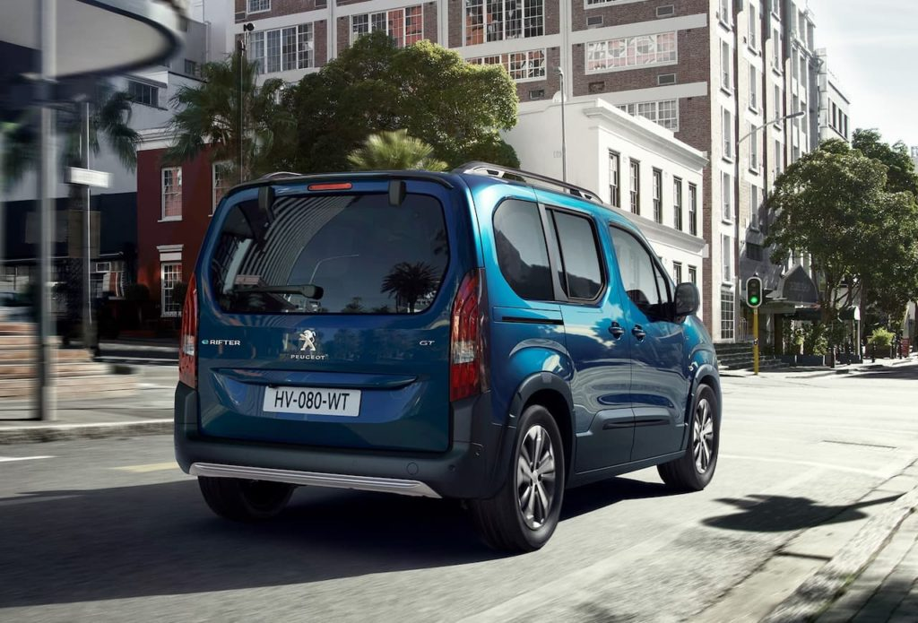 Peugeot e-Rifter rear three quarter