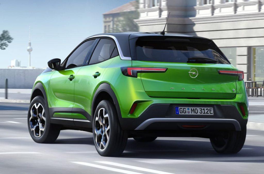 Opel Mokka-e rear three quarter